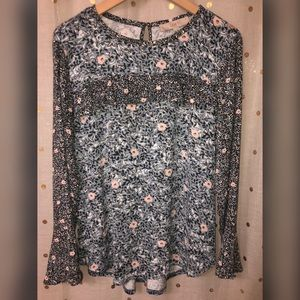 LOFT long sleeve floral blouse Medium